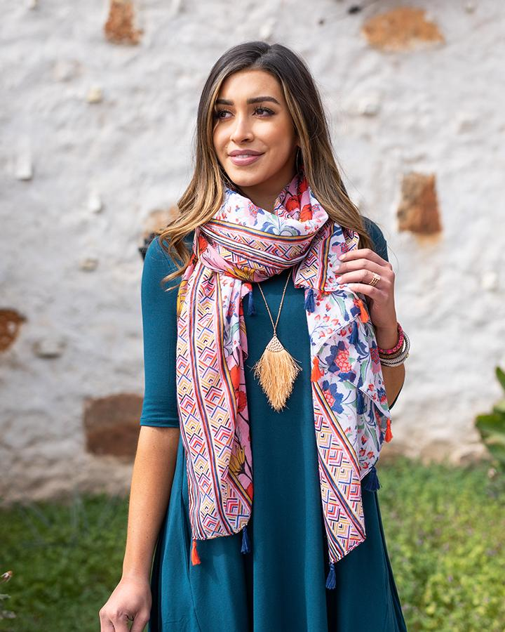 *NEW* Grace & Lace | Heirloom Blooms Lightweight Scarf | Pink & Poppy
