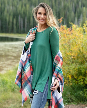 Grace & Lace Long Sleeve Tunic Tee - Evergreen