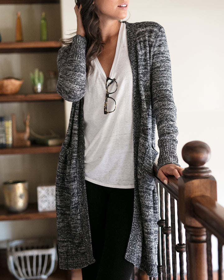 Grace & Lace Lush Bamboo Duster Cardigan - Heathered Midnight