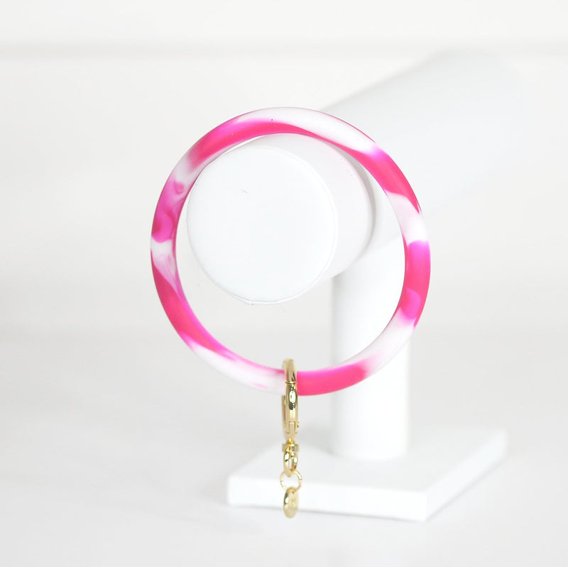 Bangle Keyring - Marble Pink & White