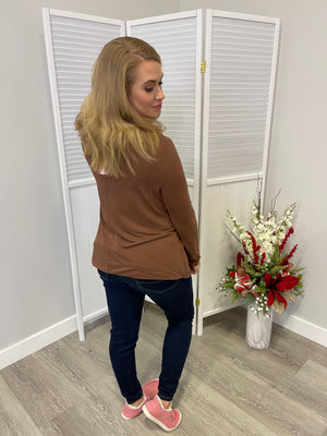*FINAL SALE* Jenny Long Sleeve Top - Mocha