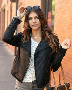 Grace & Lace | Move Free Leather Look Moto Jacket | Black