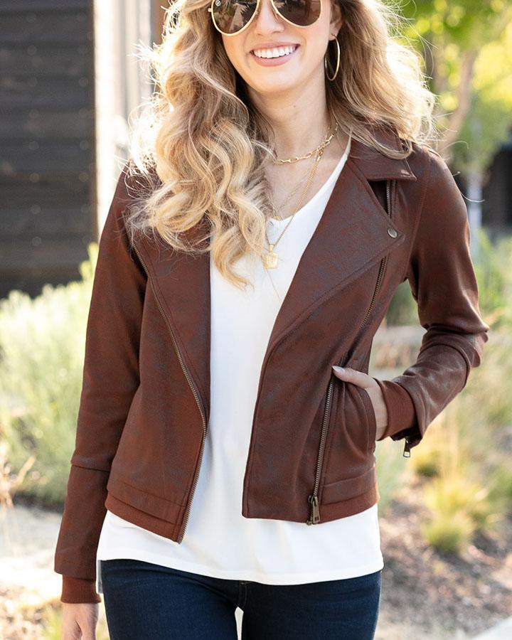 Grace & Lace | Move Free Leather Look Moto Jacket | Whiskey