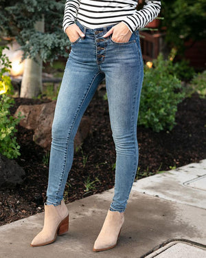 Grace & Lace |Non-Distressed Designer Denim Button Fly| Mid-Wash