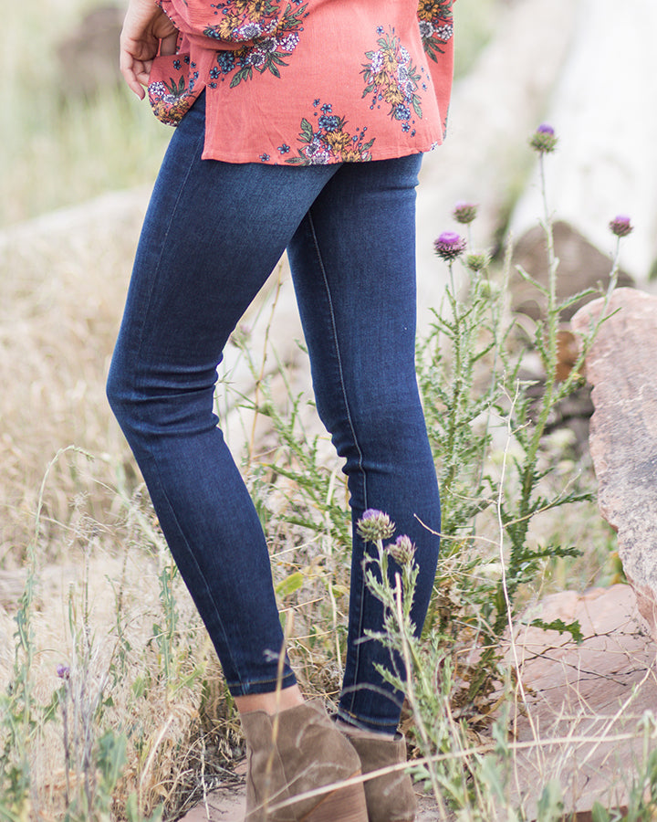 Grace & Lace Classic Mid Rise Pull-On Jeggings - Dark Wash