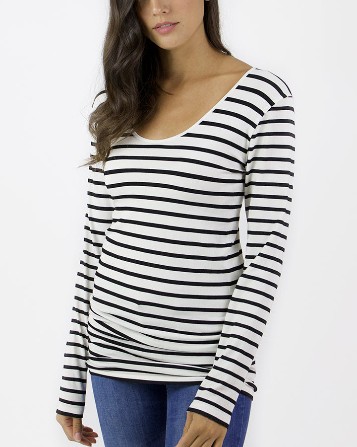 Grace & Lace Perfect Fit Top - White with Black Stripes