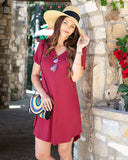 Perfect Pocket Baseball Tee Dress - Raspberry