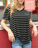 Grace & Lace Perfect Pocket Tee - Black with White Stripe