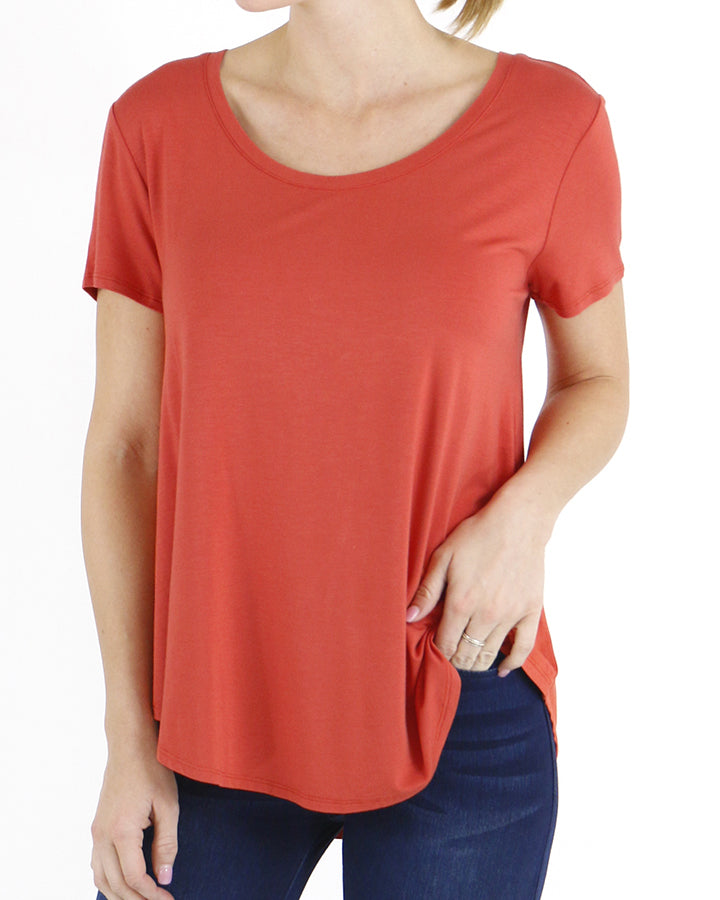 Grace & Lace Perfect Scoop Neck Tee - Papaya