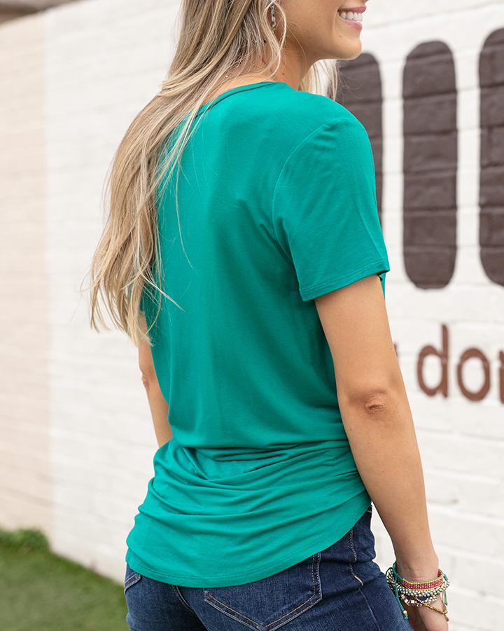 Grace & Lace Perfect Pocket Tee - Maui Green