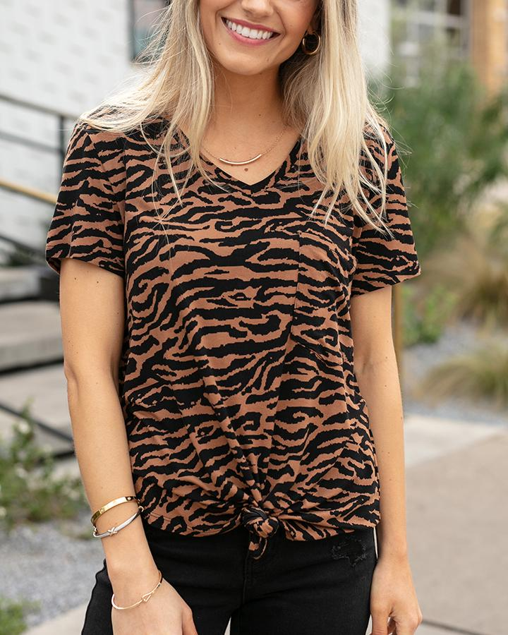 Grace & Lace Perfect Pocket Tee - Tiger