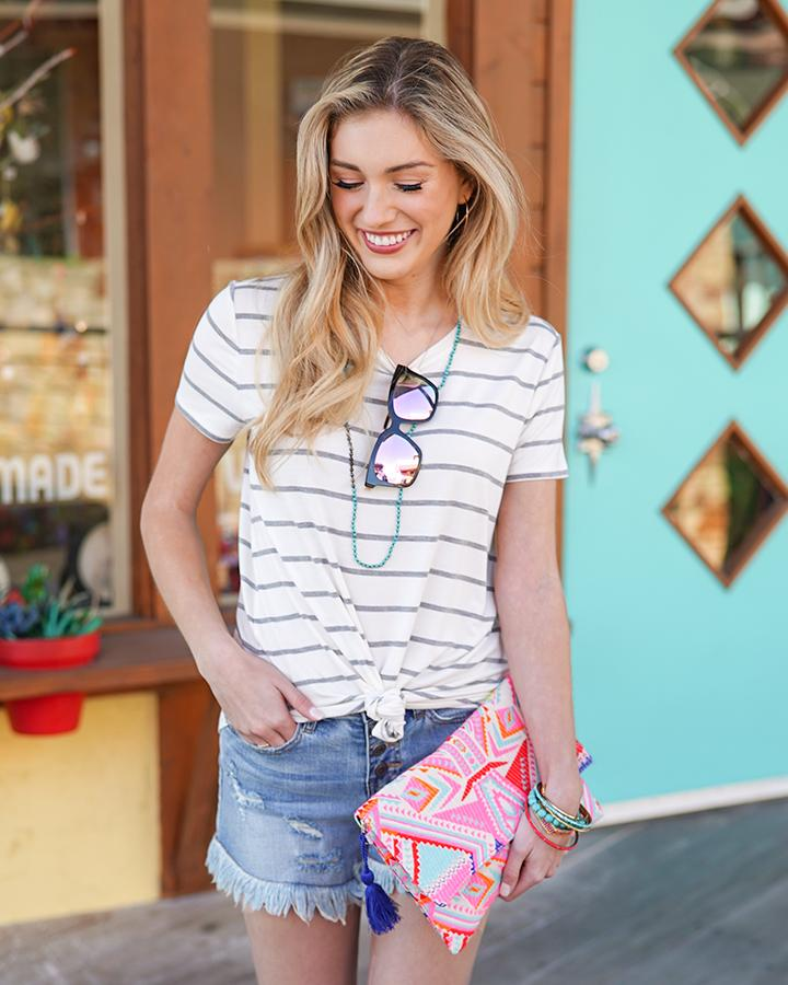 Grace & Lace Perfect Crew Neck Tee - Ivory Grey Stripe