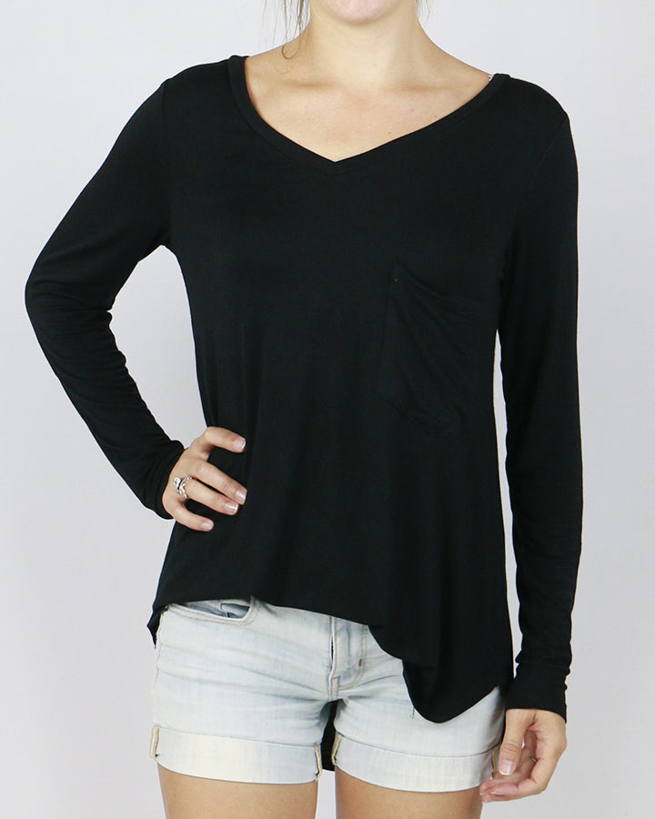 Grace & Lace | Long Sleeve Perfect Pocket Tee | Black