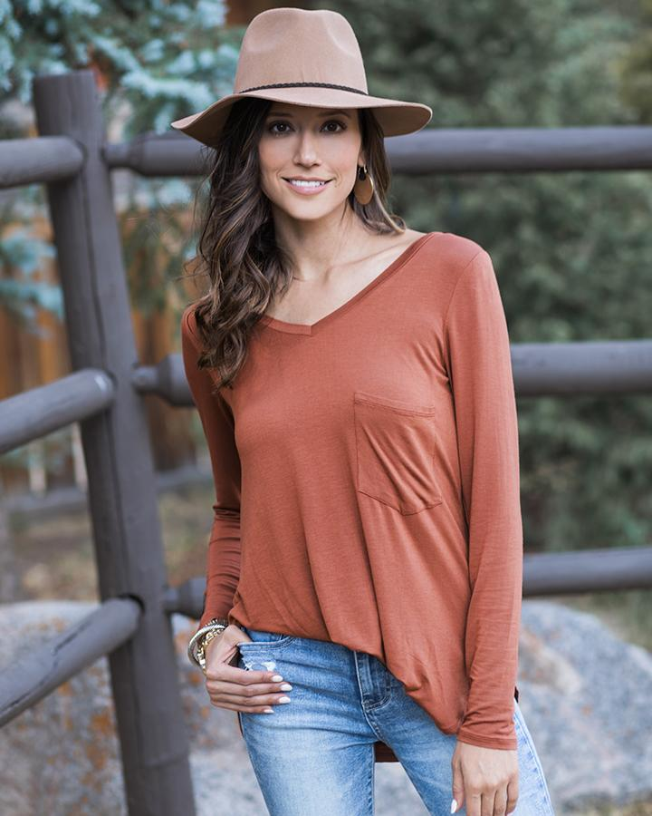 Grace & Lace Long Sleeve Perfect Pocket Tee - Cider