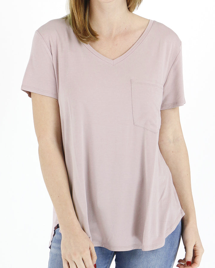 Grace & Lace Perfect Pocket Tee -Dusty Blush