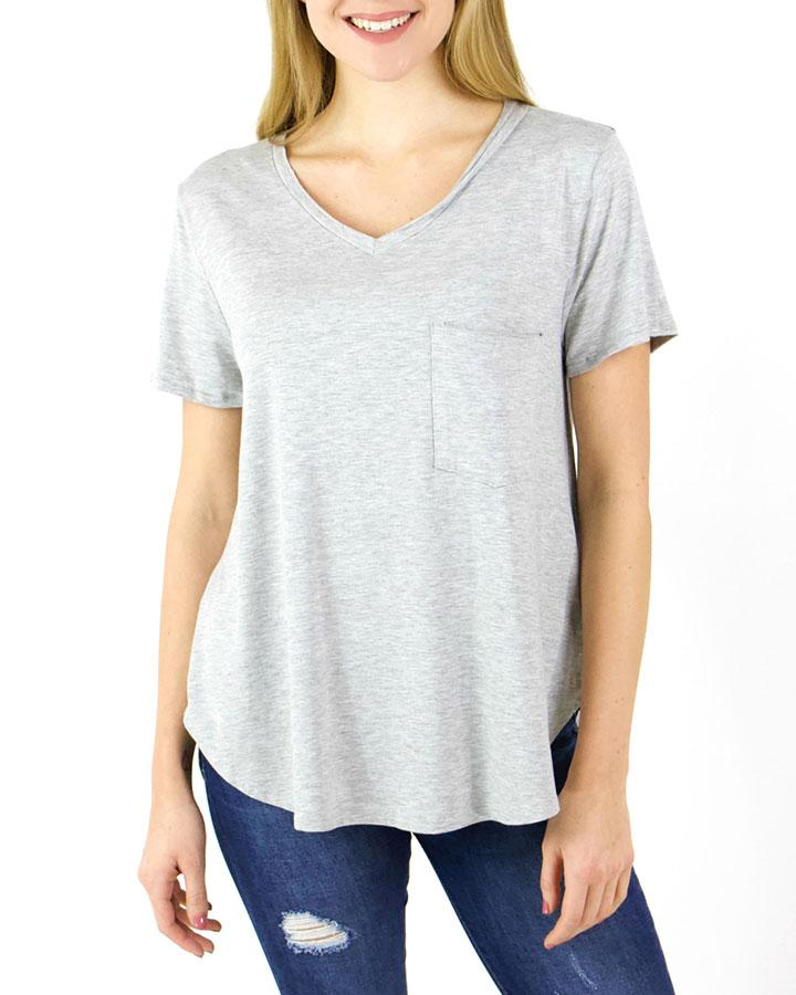 Grace & Lace Perfect Pocket Tee - Heathered Grey