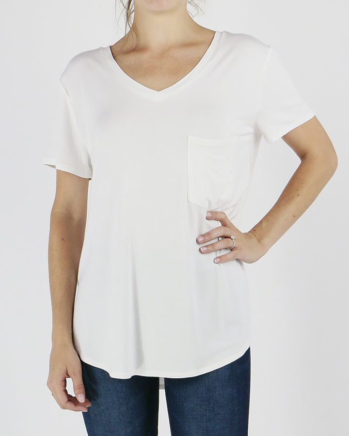 Grace & Lace Perfect Pocket Tee - Bright White