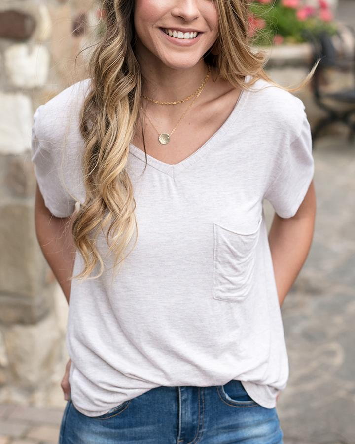 Grace & Lace Perfect Pocket Tee - Oatmeal