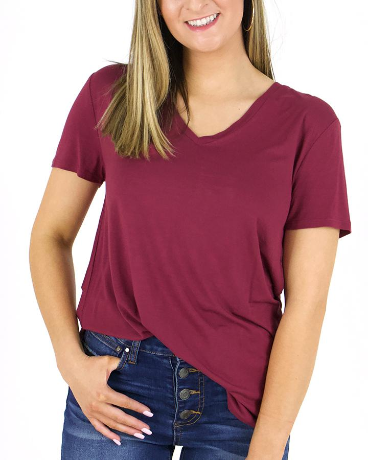 PREORDER Grace & Lace Perfect V-Neck Tee - Boysenberry