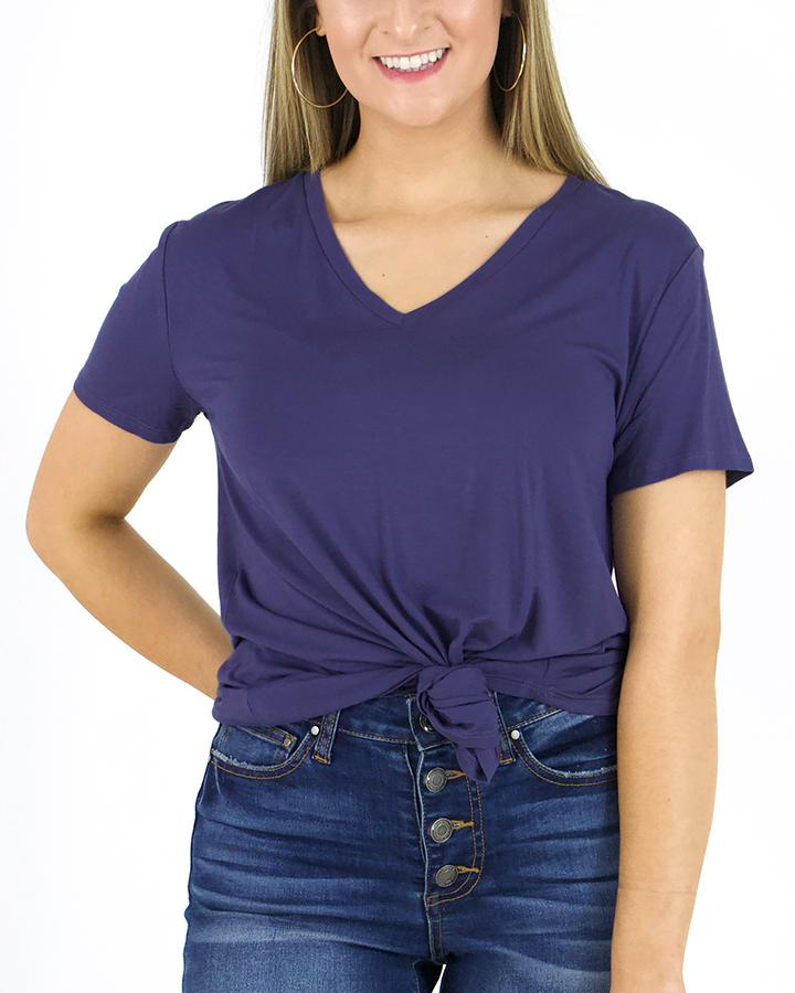 Grace & Lace Perfect V-Neck Tee - Deep Wisteria