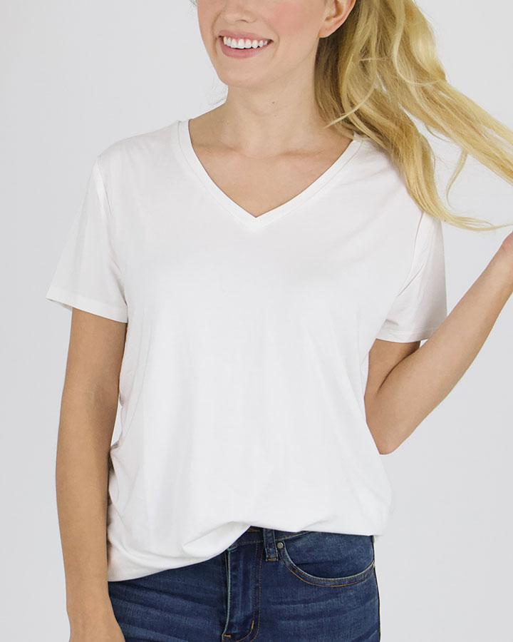 Grace & Lace Perfect V-Neck Tee - Ivory