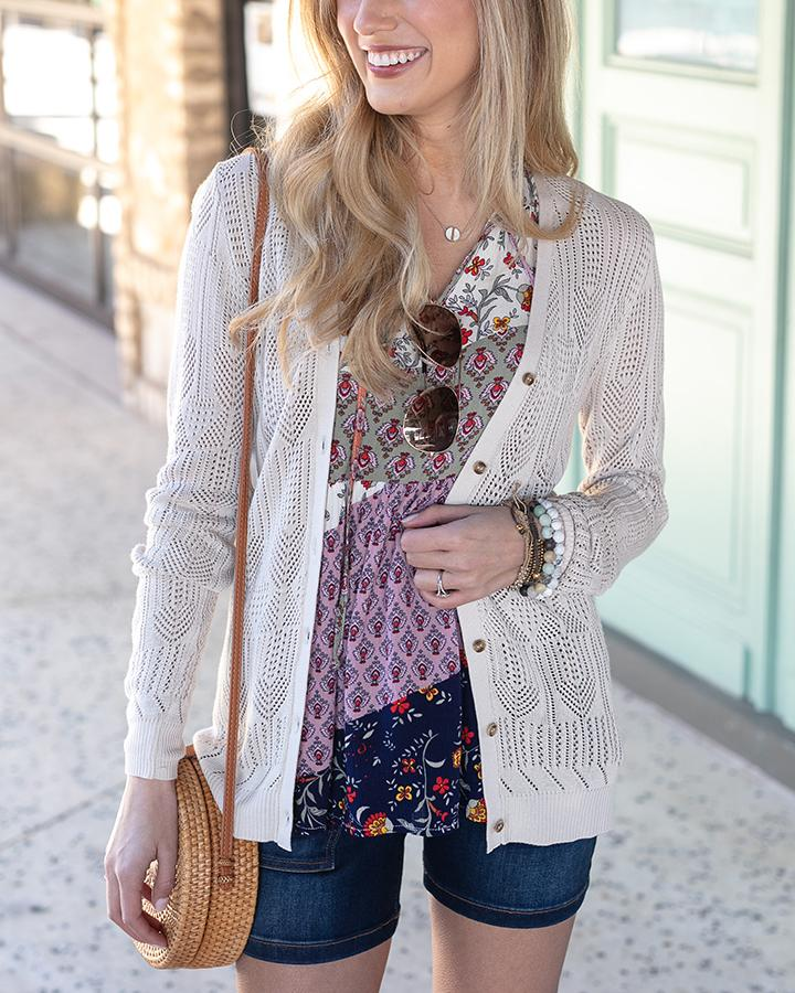 Grace & Lace Double Knit Pointelle Cardi | Khaki/Taupe