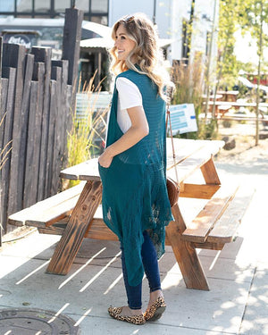 *FINAL SALE* Grace & Lace | Pointelle Duster Flip Cardi | Teal