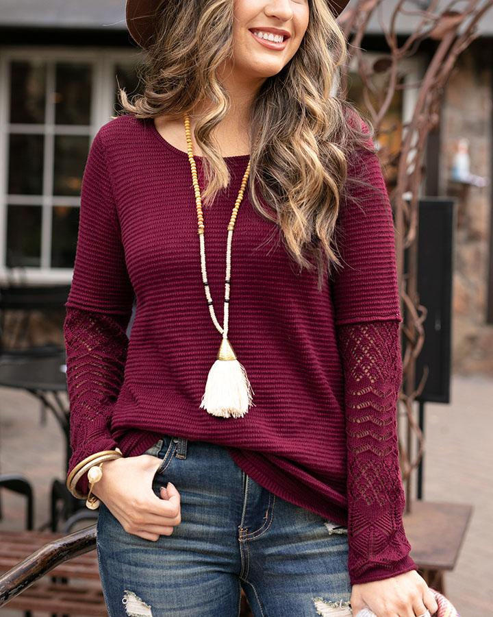 Grace & Lace | Pointelle Sleeve Sweater | Burgundy