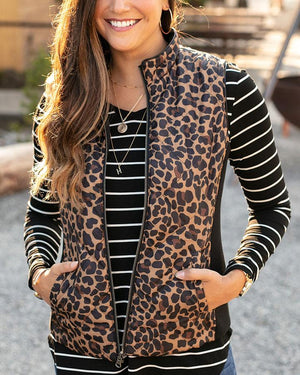 Grace & Lace Reversible Slim Fit Vest | Black & Leopard