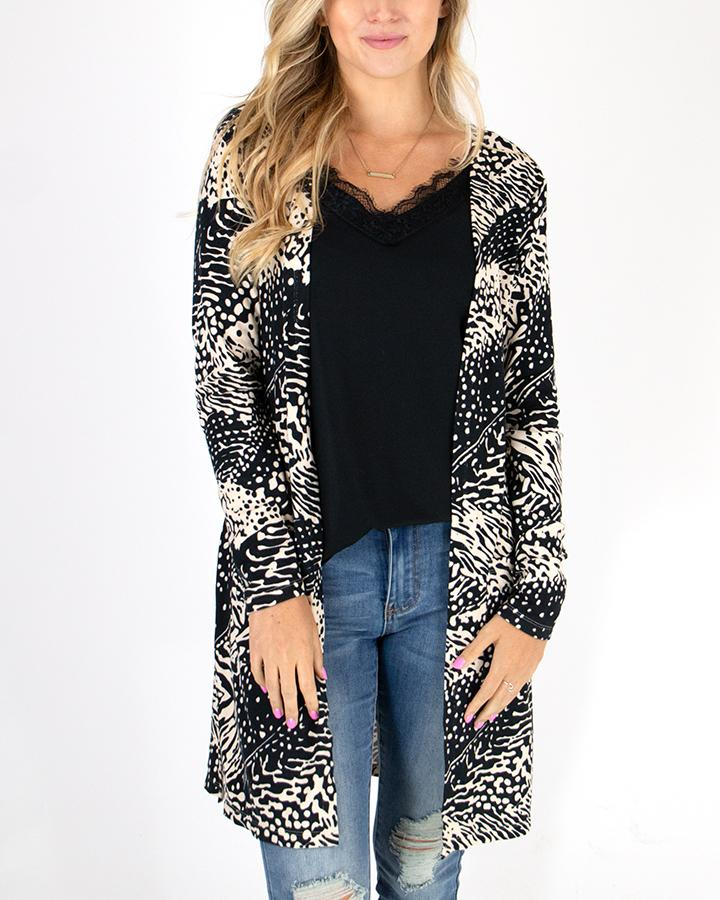 Grace & Lace Casual Silky Soft Cardi - Safari Print