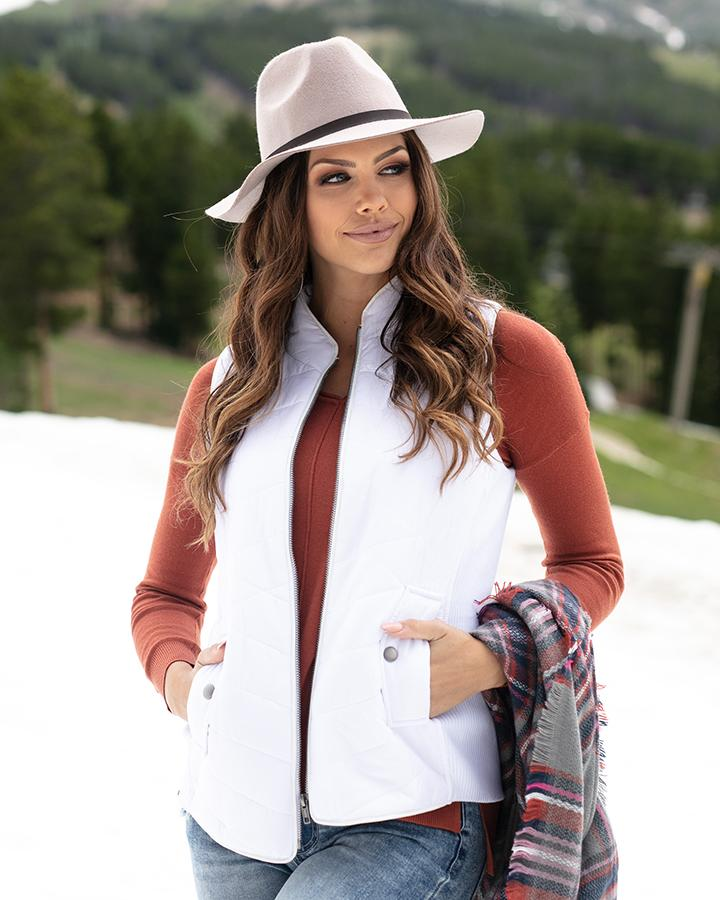 Grace & Lace Slim Puffer Vest - White