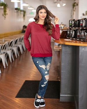 Grace & Lace Slouch Pullover - Heathered Ruby
