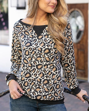 Grace & Lace Slouch Pullover - Leopard Print