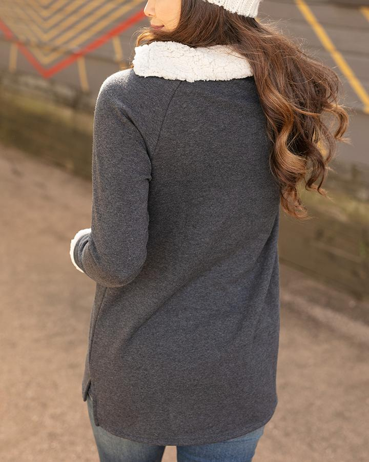 PREORDER Grace & Lace Snap Up Fleece Tunic - Charcoal
