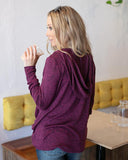 Grace & Lace Snow Day Pullover - Heathered Berry
