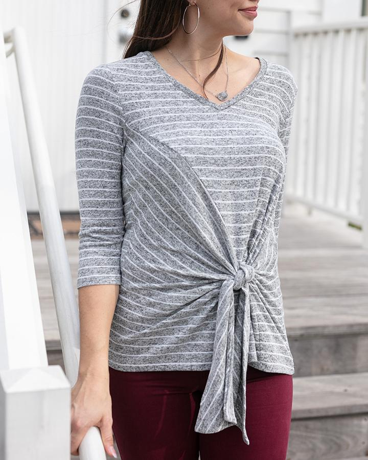 Grace & Lace Snowday Tie Front Top - Heathered Grey Stripe