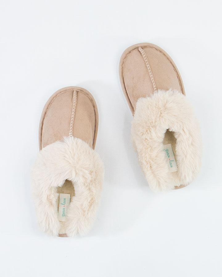 *RESTOCK* Grace & Lace | Faux Suede Slippers | Natural