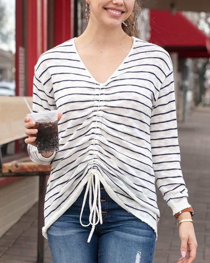Grace & Lace Striped Cinched Sweater - Ivory Navy Striped