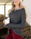 Grace & Lace Thermal Henley - Charcoal