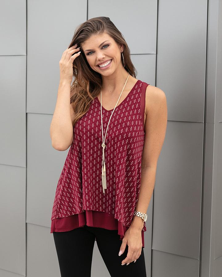 Grace & Lace Tiered Mesh Tank - Icon Print