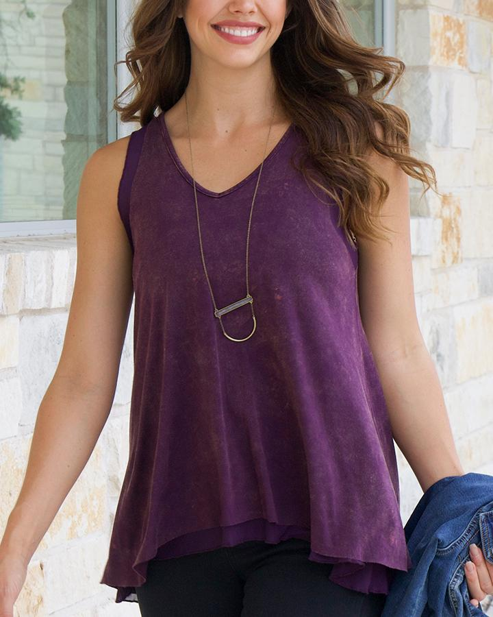 Grace & Lace Tiered Mesh Tank - Washed Aubergine
