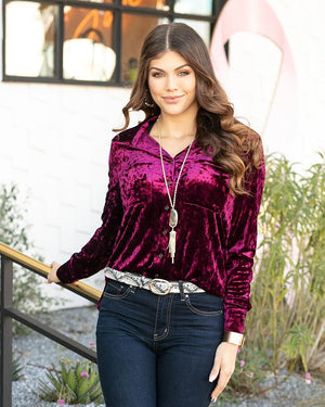 Grace & Lace Tinsel Velvet Button Up - Mulberry