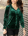 Grace & Lace Tinsel Velvet Button Up - Spruce