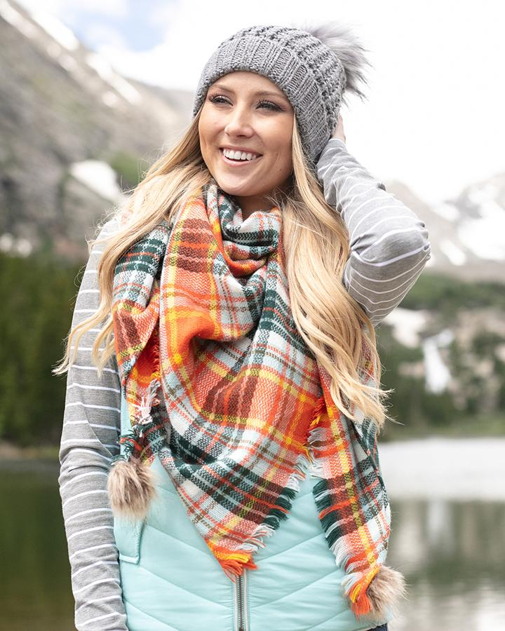 Grace & Lace Plaid Triangle Scarf - Hot Orange Plaid
