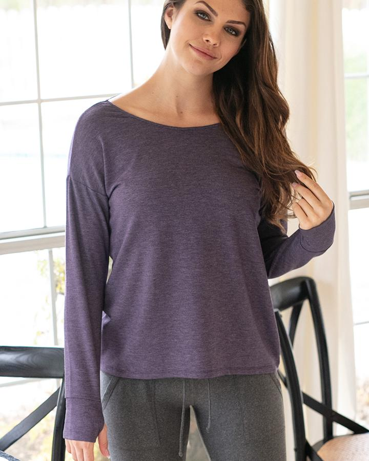 Grace & Lace Twist Back Pullover - Loganberry