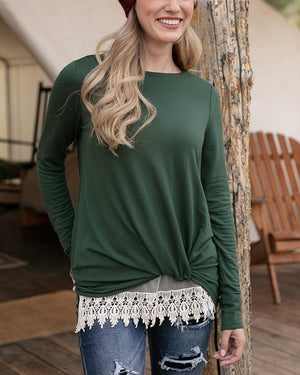 Grace & Lace Twist Hem Pullover - Sycamore Green
