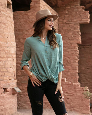 Grace & Lace Twisted Hem Button Up - Jade