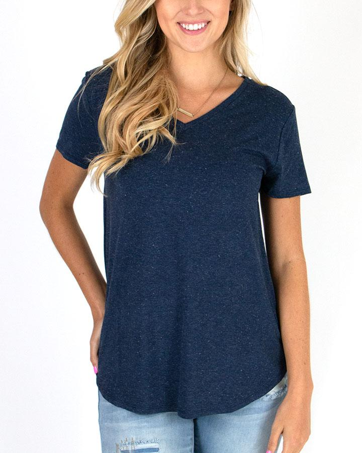 Grace & Lace | Perfect V-Neck Tee | Heathered Navy
