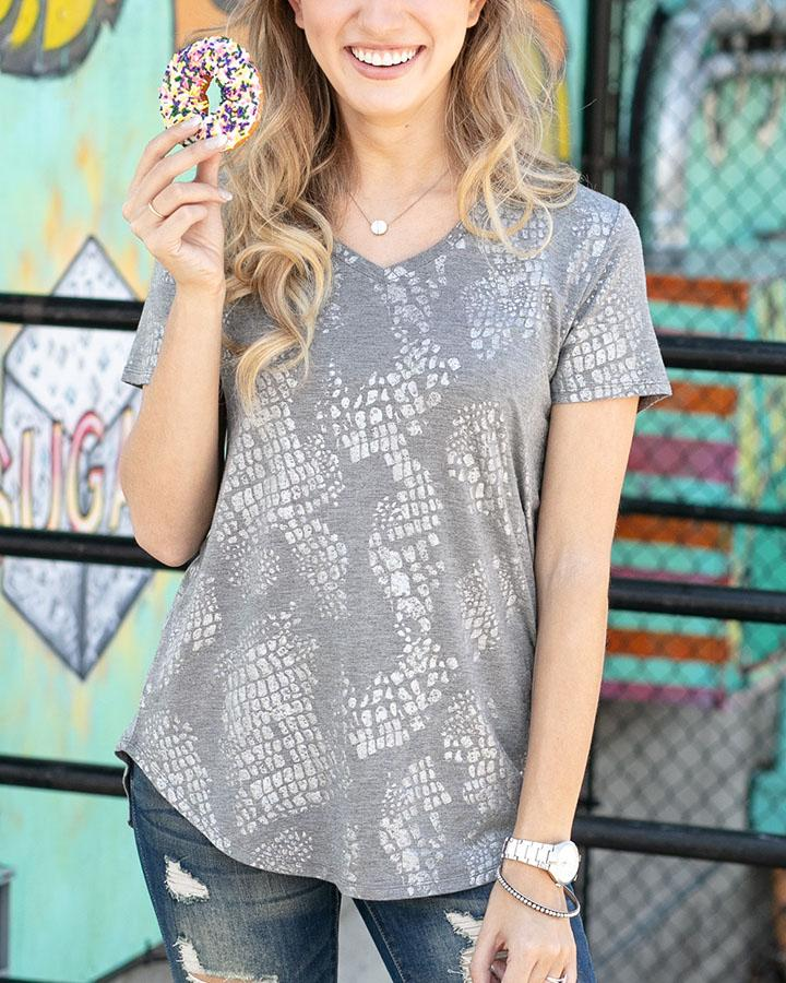 Grace & Lace | Perfect V-Neck Tee | Silver/Grey Foiled Animal