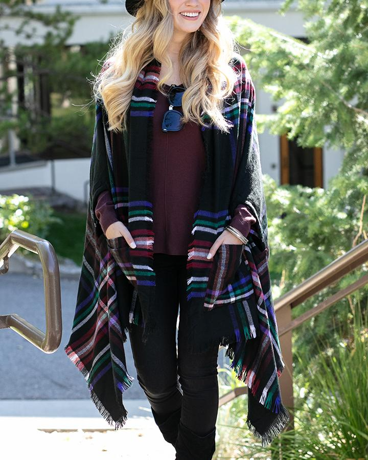 Grace & Lace Winter Weight Pocket Poncho - Black Plaid